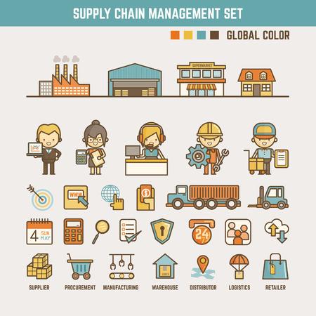 supply chain infographic elementen voor het kind met inbegrip van tekens en iconen Vector Illustratie