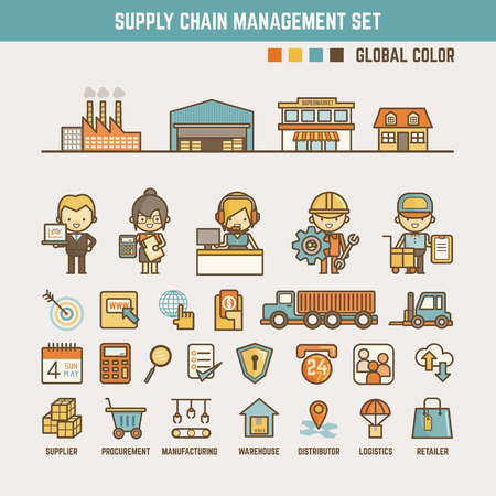 supplies: supply chain infographic elements for kid including characters  and icons Illustration