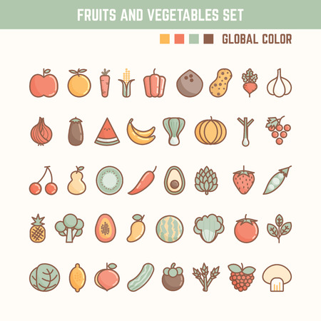 fruits and vegetables outline icon set for natural and healthy food