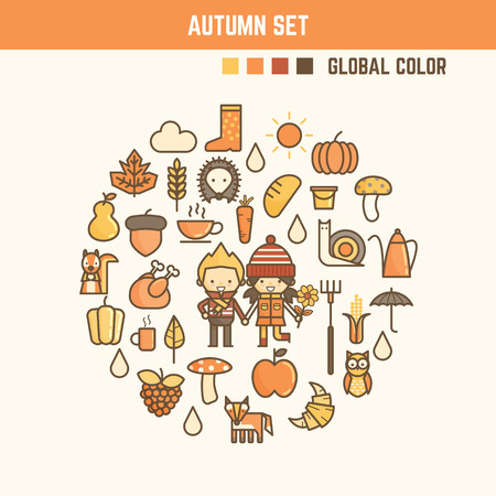 autumn and fall infographic elements including characters and icons Ilustrace