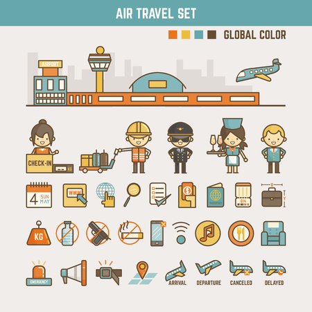 air plane: air travel infographic elements for kids including characters and icons