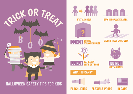 trick or treat halloween safety tips infographic for kids Vectores