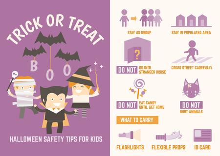 brujas caricatura: truco o consejos de seguridad de halloween infogr�ficas para ni�os