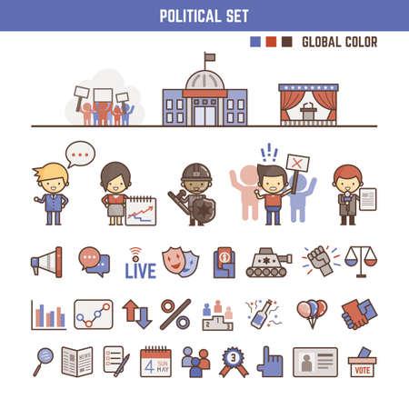 democracia: Elementos infographic políticas para niños que incluye caracteres e iconos