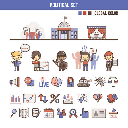 political: political infographic elements for kids including characters and icons