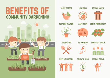 kids garden: infographics cartoon character about benefits of community gardening Stock Photo