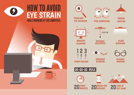 asistencia sanitaria de carácter infografía de dibujos animados sobre la prevención de la fatiga visual Foto de archivo