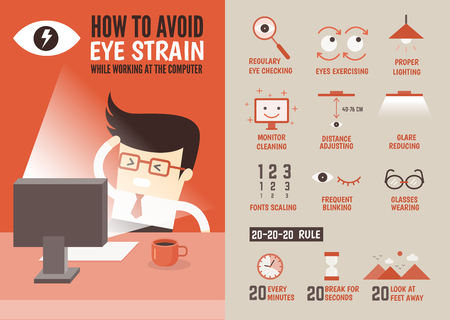 computadora caricatura: asistencia sanitaria de car�cter infograf�a de dibujos animados sobre la prevenci�n de la fatiga visual Foto de archivo