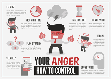 anger management: infographics cartoon character about anger management Stock Photo