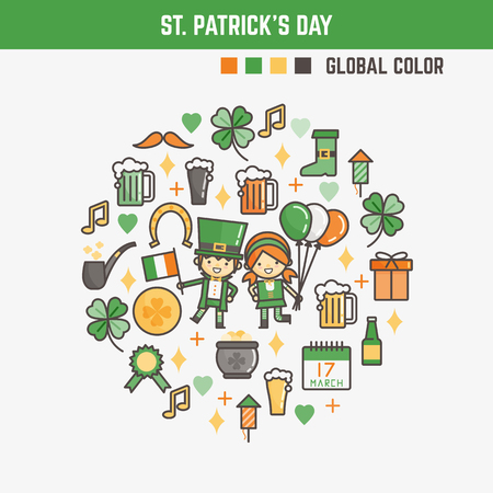 infographic elements for kids about saint patricks day including characters and icons Stock Photo