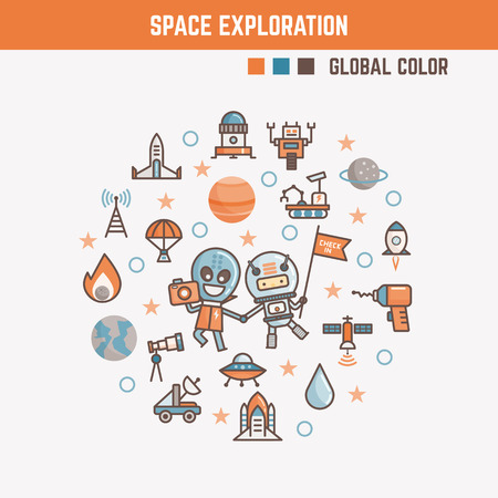 infographic elements for kids about space exploration including characters and icons