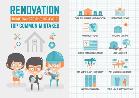 renovating: infographics cartoon character about renovation mistakes Illustration