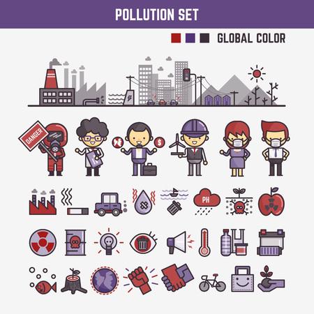 mundo contaminado: elementos de Infograf�a de los ni�os acerca de los personajes y los iconos de contaminaci�n incluidos Vectores