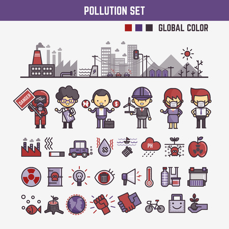 polluted cities: infographic elements for kids about pollution  including characters and icons