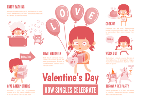 infographics cartoon character about singles celebrate valentine's day Illustration