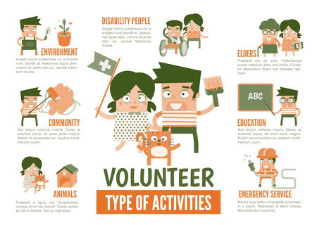 teach: infographics cartoon character about volunteer activities Illustration