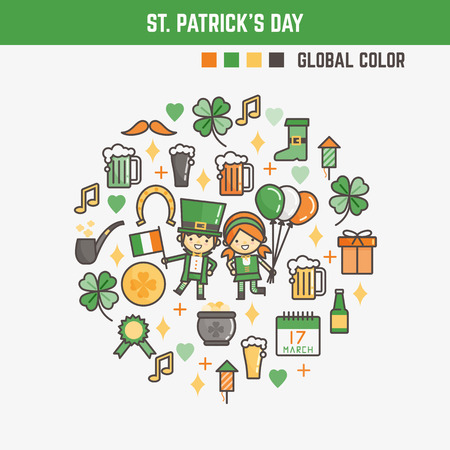 infographic elements for kids about saint patrick's day including characters and icons Ilustrace
