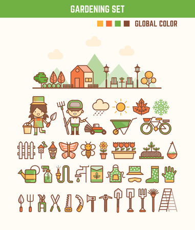 infographic elements for kids about gardening  including characters and icons Illustration
