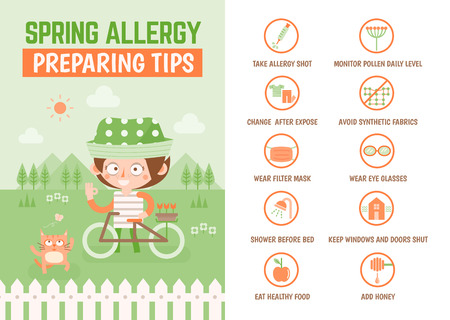 healthcare infographic about spring allergy preparation tips