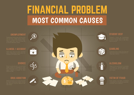 economic depression: infographics cartoon character about financial problem causes Illustration