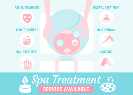spa treatment: infographics cartoon character about spa treatment