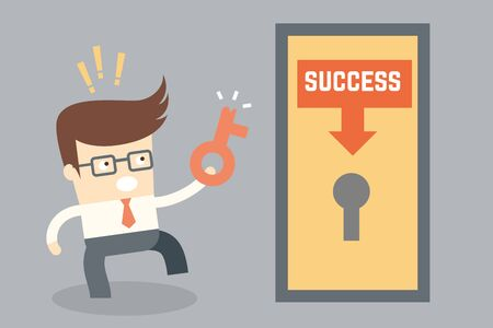key to success: cartoon character conceptual design for key success failure