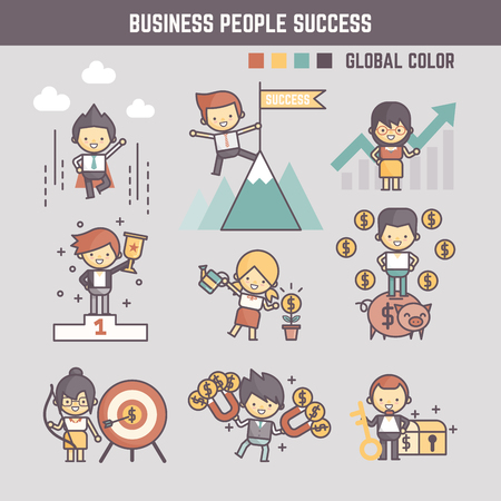 outline cartoon characters illustration of business people success