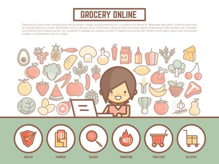 grocery online shopping banner background  cute outline cartoon character style Illustration