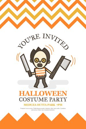 halloween invitation card for costume night party cute kid cartoon character style Illustration