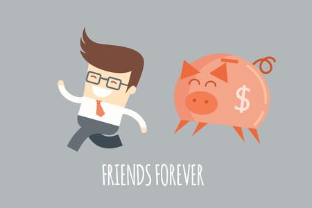 financial plan: business man running with a piggy bank, financial plan concept Illustration