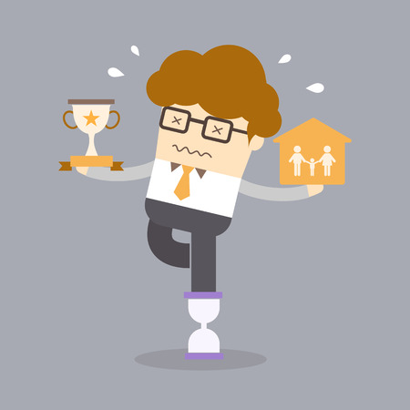 stressed people: balance work life concept of man holding family and success on hourglass Illustration