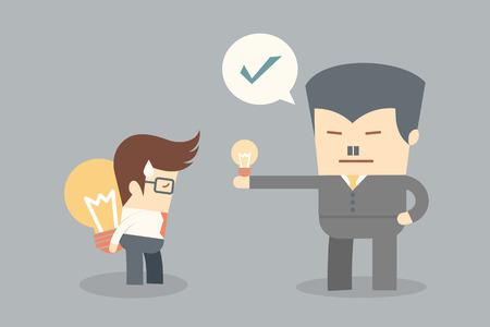 decision: boss make decision concept of creativity and idea
