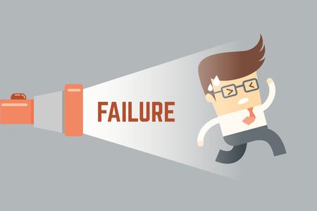 failures: business man running from failure, business success concept