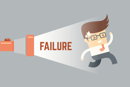 business man running from failure, business success concept