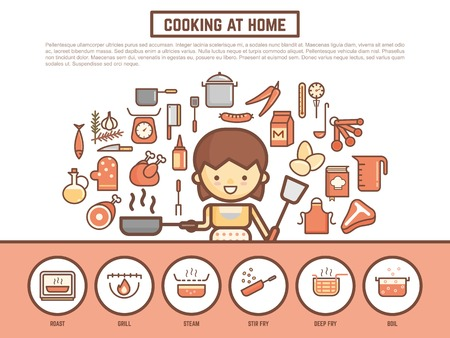 home cooking banner background  cute outline cartoon character style Vectores