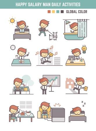 Hombre feliz salario vida diaria jornada de trabajo del vector rutina de carácter Ilustración del esquema para el elemento de infografía Foto de archivo - 62675267