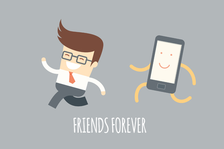 business man running with a mobile phone, mobile addiction concept