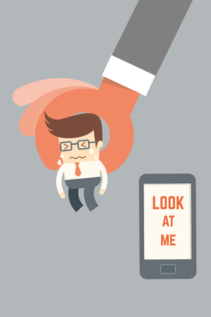 business phone: business man crying leaving mobile phone  mobile phone addicted concept