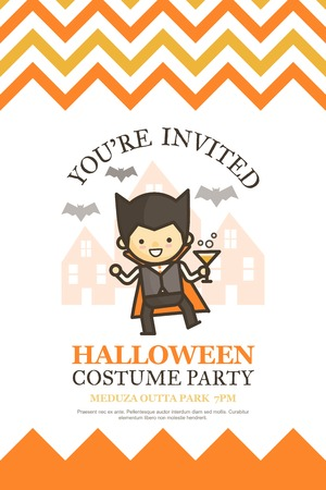 halloween invitation card for costume night party cute kid cartoon character style Ilustrace