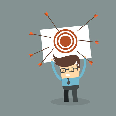 failed strategy: Business man failure on target