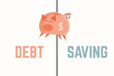 piggy bank jump to debt bankruptcy concept