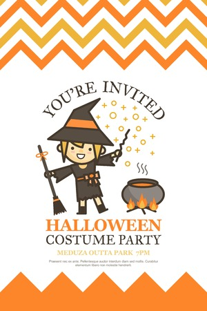 halloween invitation card for costume night party cute kid cartoon character style Vettoriali
