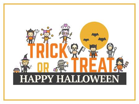 halloween card for costume party night for kid cute cartoon character style Illustration