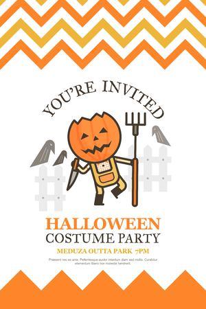 farmer halloween invitation card for costume night party cute kid cartoon character style
