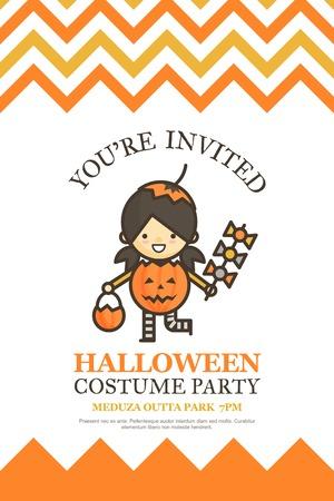 pumpkin girl halloween invitation card for costume night party cute kid cartoon character style Ilustrace