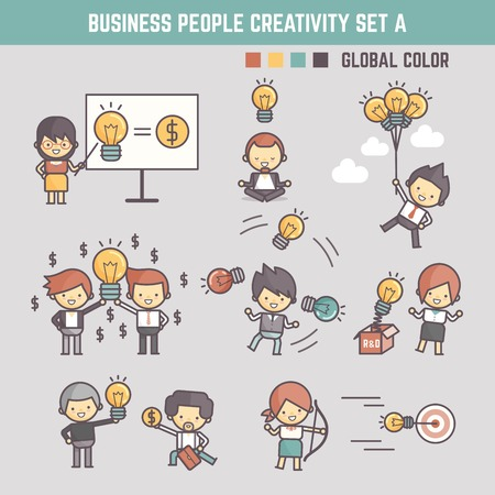 creativity business people concept vector illustration outline character for infographic element
