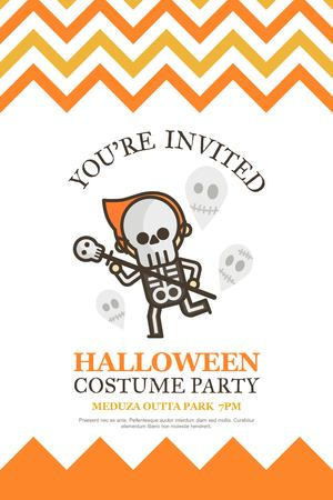 costume party: skeleton halloween invitation card for costume night party cute kid cartoon character style