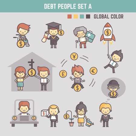 outline cartoon characters illustration of people in debt
