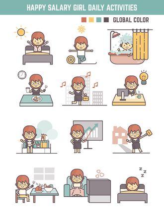 actividad: rutina de la vida diaria niña feliz salario