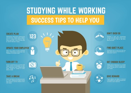 Infographic cartoon character about success tips for studying while working Illustration